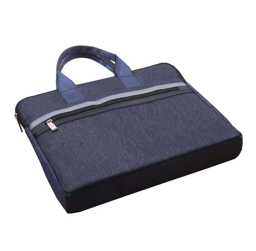 Wear-Resistant Canvas Briefcase Business Meeting Bag Filing Paper Bag Dark Blue