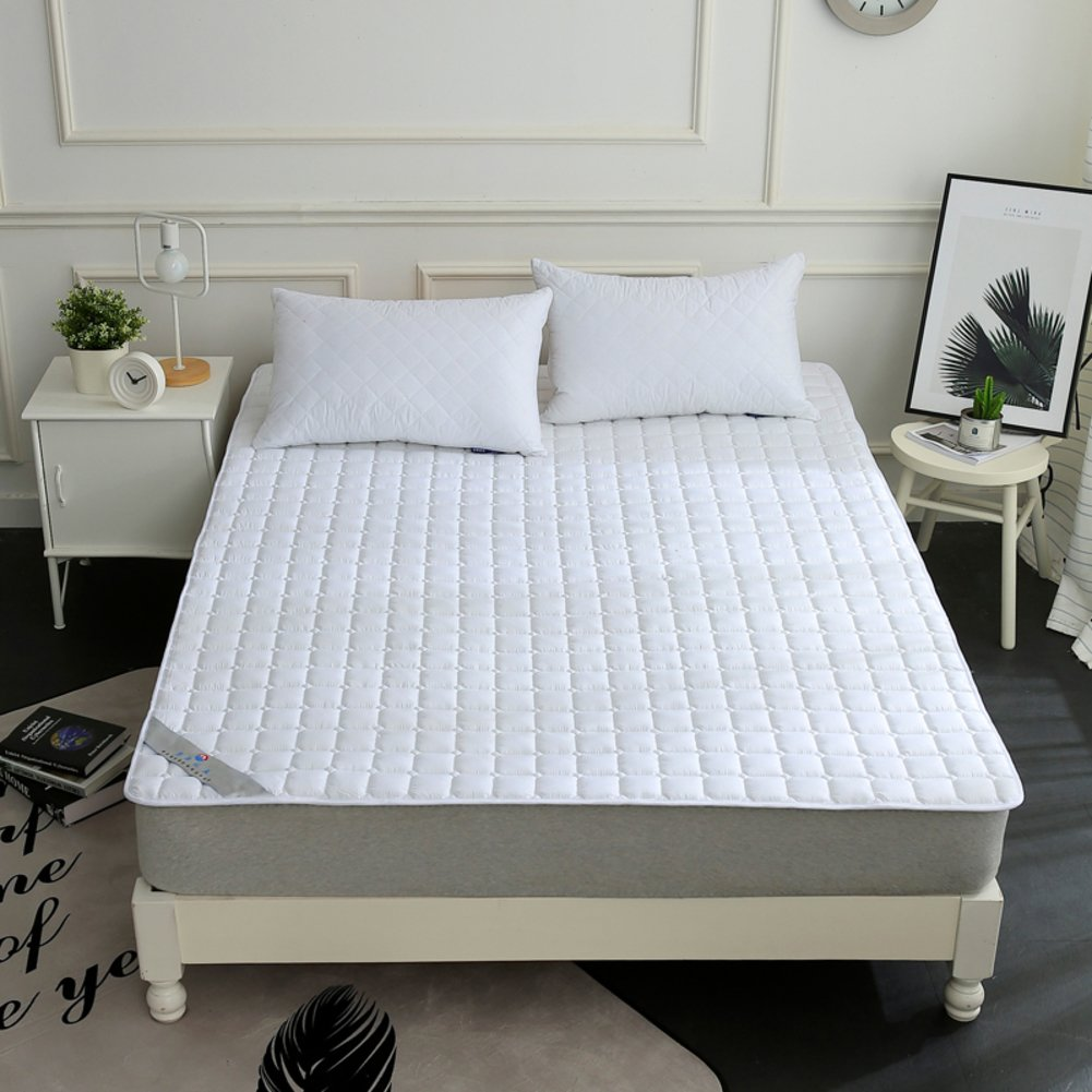 HYXL Mattress pad cover Protector,Hotel Anti-slip Mattress protector pad Folded Thin Cooling mattress topper Washable-White 135x200cm(53x79inch)