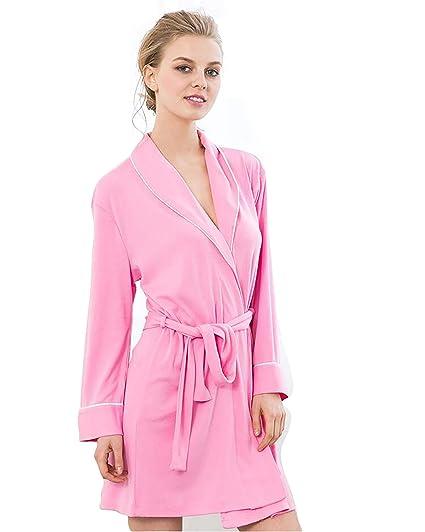 JHKJ Batas Baño para Mujer Ropa Dormir Punto Suave Cuello Kimono Desgaste Largo En El Salón