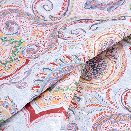 "Printed Quilt Coverlet Set Full/Queen(86″x96″) Crimson Blue Paisley Pattern Lightweight Hypoallergenic Microfiber ""Marrakesh"" by Bedsure 613WKrwdgBL"