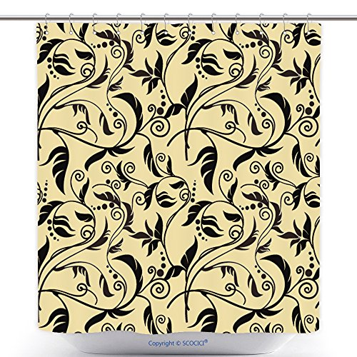 [Custom Shower Curtains Floral Background Gold End Black 61103365 Polyester Bathroom Shower Curtain Set With Hooks] (Spider Man New Costume Ends Of The Earth)
