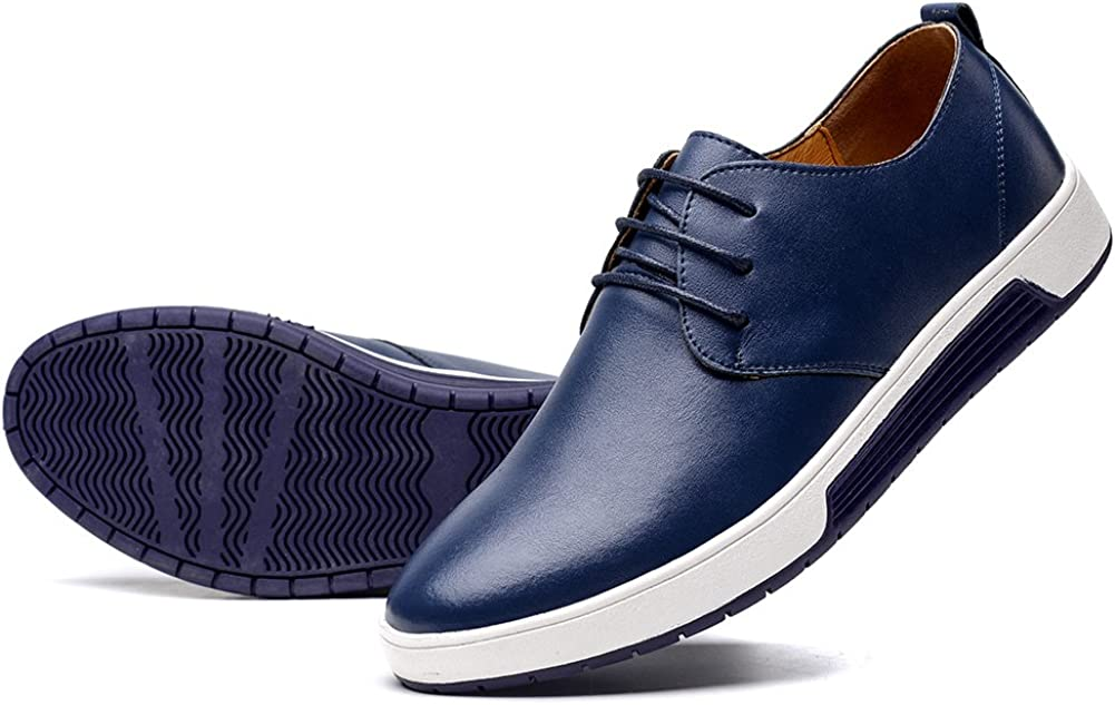 konhill Mens Casual Oxford Shoes Breathable Dress Shoes Loafers Lace-up Flat Sneakers