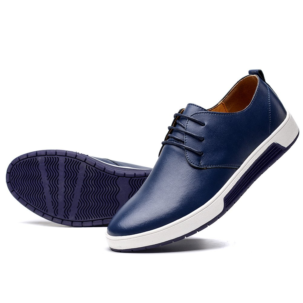 KONHILL Men's Casual Oxford Shoes Breathable Flat Fashion Lace-up Dress Shoes, Navy, 46