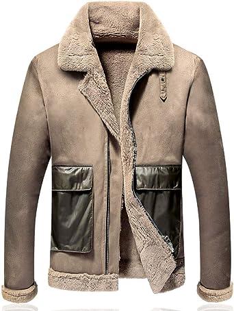 YYZYY Abrigo de piel de ante para hombre, abrigo, chaqueta ...