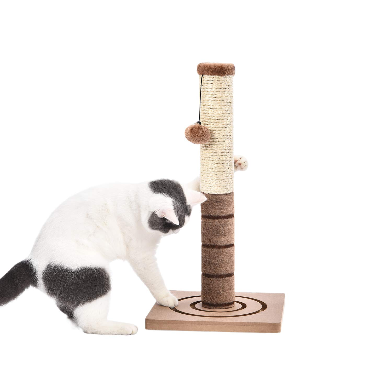 PAWZ Road 22'' Cat Scratching Post Combines with Cat Interactive Toy -Beige by PAWZ Road