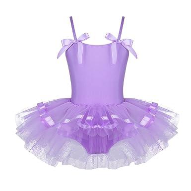 CHICTRY Enfants Filles Justaucorps de Danse Bretelles Spaghetti avec  Bowties Robe de Ballet Gymnastique Tutu plissé da4af45dfda