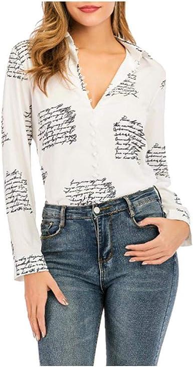 VJGOAL Camisas de Mujer Moda Casual Impresión Cuello en V Camisetas de Manga Larga Primavera Verano Solapa Botones Blusa: Amazon.es: Ropa y accesorios