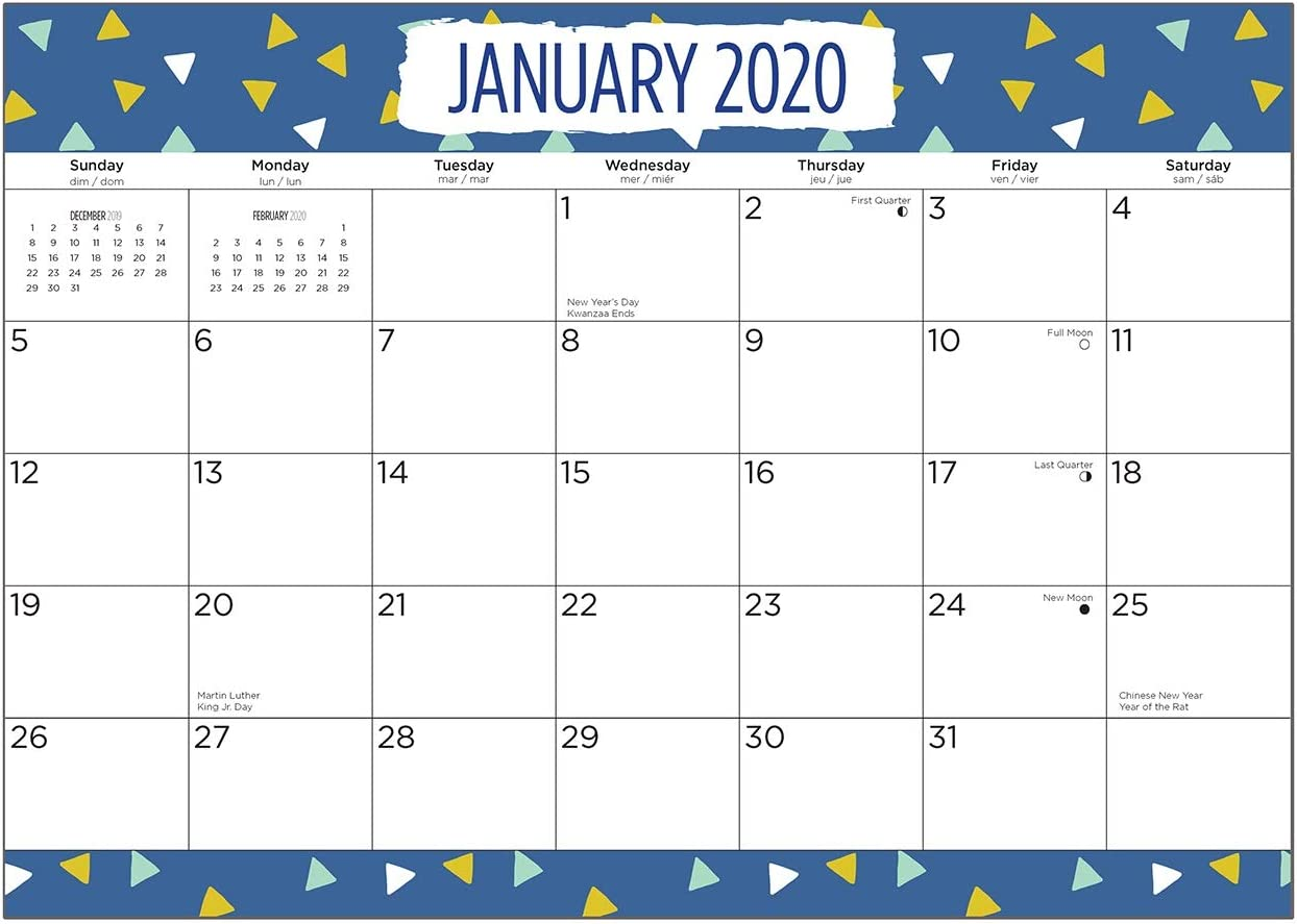 2020 Triangles Magnetic Refrigerator Calendar Wall Calendar Pad by Bright Day, 16 Month 8 x 10 Inch, Kids Planner Modern Planner