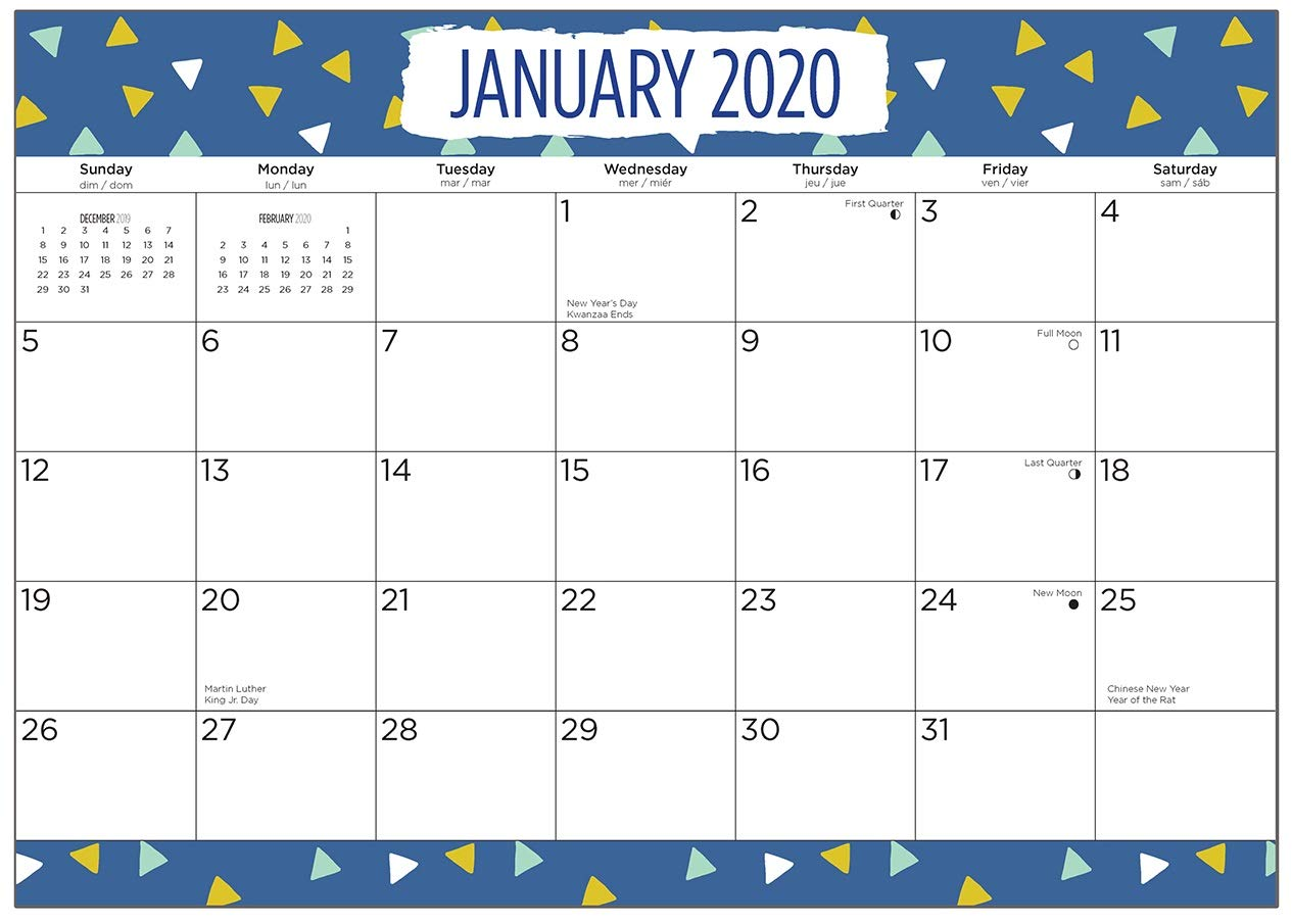 2020 Triangles Desk Pad Office Calendar by Bright Day, 16 Month 15.5 x 11 Inch, Kids Planner Modern Planner