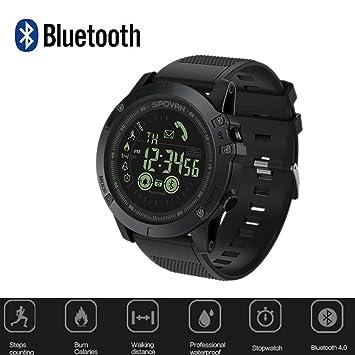 Ridecle Reloj Bluetooth para Hombre Reloj Deportivo de Moda Reloj Digital Luz Trasera Pantalla LED Reloj Impermeable de 50 Metros para Exteriores para ...