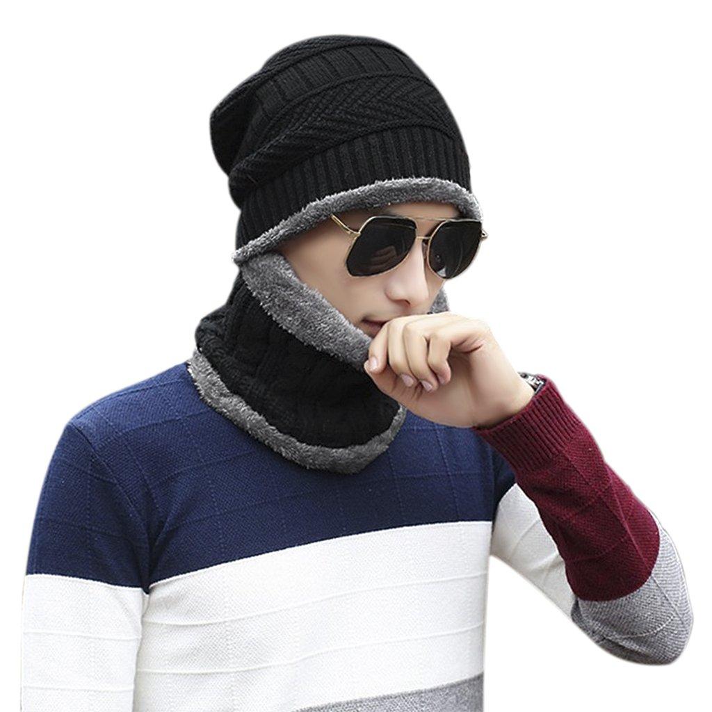 Homme Bonnet ensemble Snood Unisex Cache-cou et Bonnet tricoté Hiver  Casquette avec écharpe en 61745325211