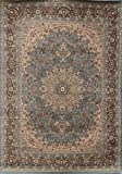 Feraghan/New City Traditional Isfahan Wool Persian Area Rug, 8' x 10', Light Blue/Silver