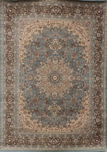 feraghan new city traditional isfahan wool persian area rug 8 39 x 10 39 light blue silver buy. Black Bedroom Furniture Sets. Home Design Ideas