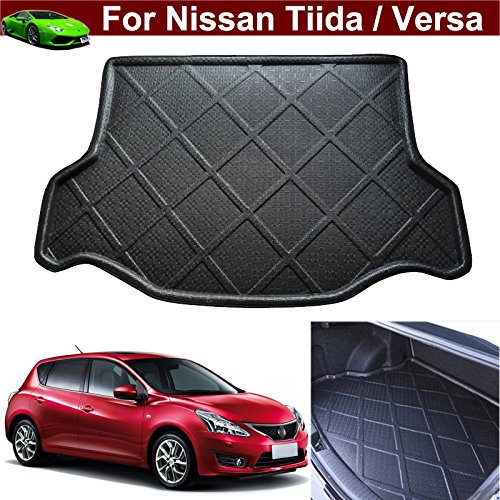 1pcs Black Color Car Boot Pad Carpet Trunk Cargo Liner Floor Mat Molded Cargo Tray Custom Fit For Nissan Tiida / Versa Hatchback 2011 2012 2013 2014 2015 2016 2017 2018 Chaoben
