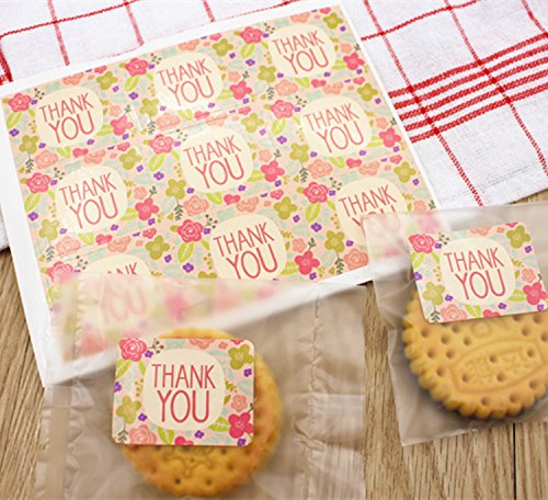 Cacys-Store - 5Sheets=45Pcs/lot Thank You Stickers As Food Wedding Souvenirs Label Labels Gift Decoration Tag Adhesive Stationery (Labels Stationery Tags)