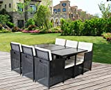 Sotofa 11 PCS Patio Outdoor Sectional Furniture PE Wicker Rattan Garden Dining Set (Black) For Sale