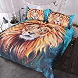 BlessLiving Gold Lion Bedding, Artistic Lion Face Duvet Cover 3D Oil Painting, 3 Piece Wild Animal Bed Covers, Teal Blue (Twin)
