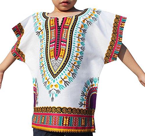 Raan Pah Muang RaanPahMuang Unisex Bright African White Children Dashiki Cotton Shirt, 8-10 Years Tall, Pink White
