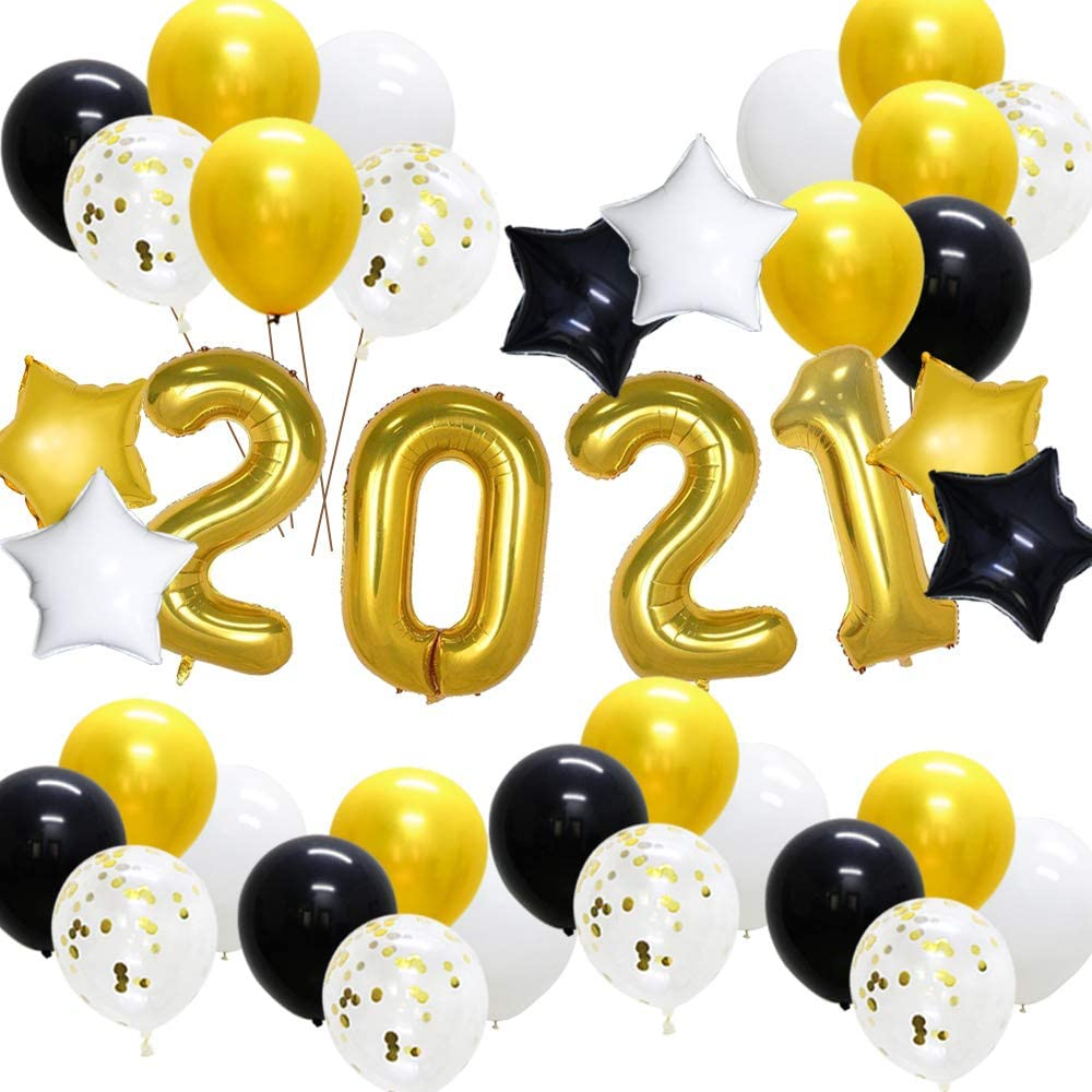 KAXIXI New Years Eve Party Supplies 2021 Graduation decorations Black Gold Star Foil Balloons Latex Balloons for Birthday Prom Night Anniversary Bachelorette (38PCS)