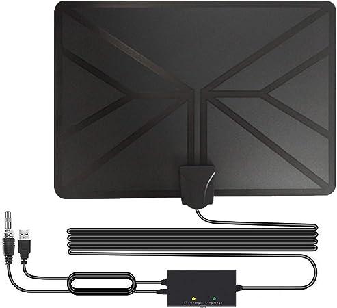 Antena de TV Interior, HD Antena TV Portátil HD TV Digital 120 Millas con Amplificador de Señal Inteligente para Canales de TV Gratuitos,Compatible ...