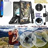 for 5.5'' ZTE Blade Spark ZMAX ONE Grand X4 Case Belt Holster Phone Case 2 Kick stand Card Pocket Corner Guard Hybrid Bumper Cover + Screen Film (Camo Forest)