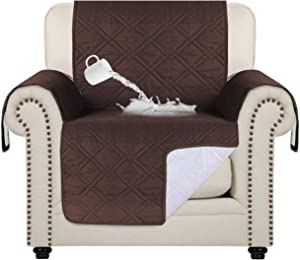 "100% Water Resistant Chair Slipcover Waterproof Furniture Protector Slip Reducing Backing Non-Slip Chair Covers Non-Slip Washable Waterproof Pads for Furniture (Chair 75"" x 65"") Brown"