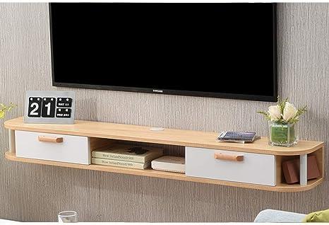TV Rack Gabinete de TV Montado en la Pared Estante Flotante Estante de Pared Fondo de TV Decoración de la Pared Estante Set Top Router Soporte para TV Consola Multimedia (Color: Marrón),