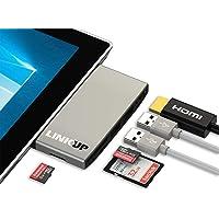 LINKUP USB 3.0 caja adaptador de lector de tarjeta de SD + Micro SD para Microsoft Surface Pro 5 / 6 - soporta tarjetas de SD +2 tarjetas TF + 2 puertos USB 3.0 + adaptador combo MiniDP a HDMI 4K para Surface Pro 5 / Pro 6