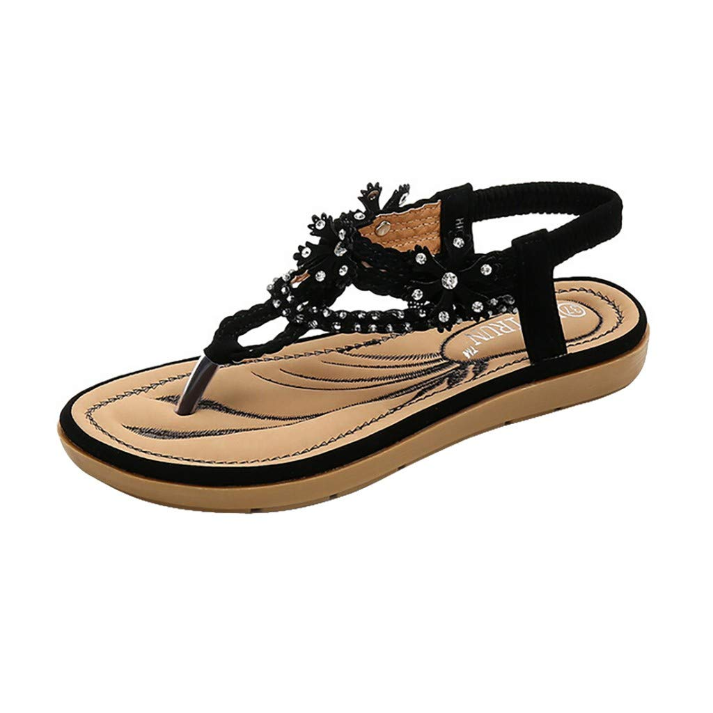 ℱLOVESOOℱ Women's Tong Sandals Summer Confortable Soft Bottom Flat Toe Crystal Flip Flops Sandals Casual Beach Slippers Black