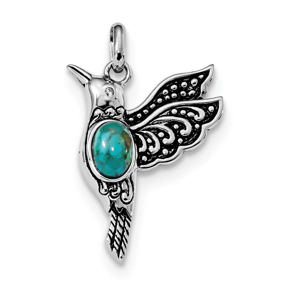 Turq//CZ Hummingbird Pendant Beautiful Sterling silver 925 sterling Sterling Silver Rhodium//Oxidized Recon