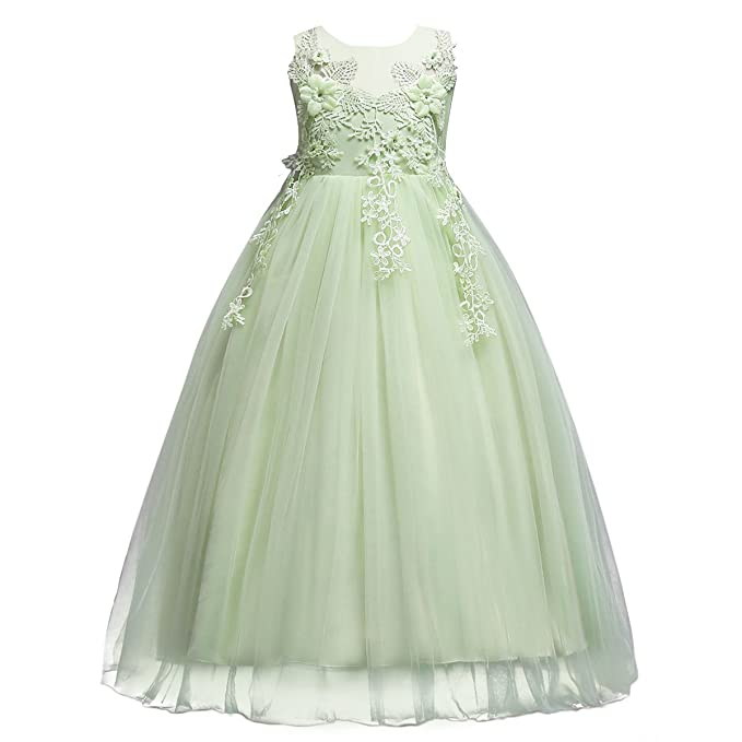 aea352530 Kids Big Girls Tulle Lace Dress School Girls Communion Ball Gown ...