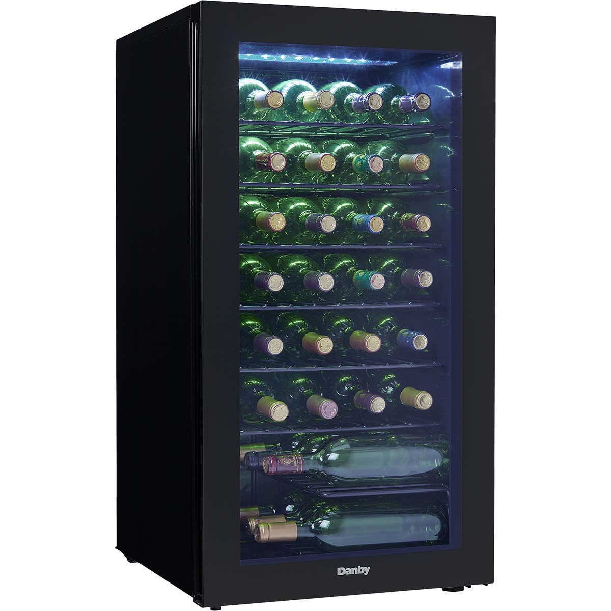 DWC032A2BDB Freestanding Wine Cooler with 36 Bottle Capacity, Adjustable Wine Racks, Single Zone, LED Light