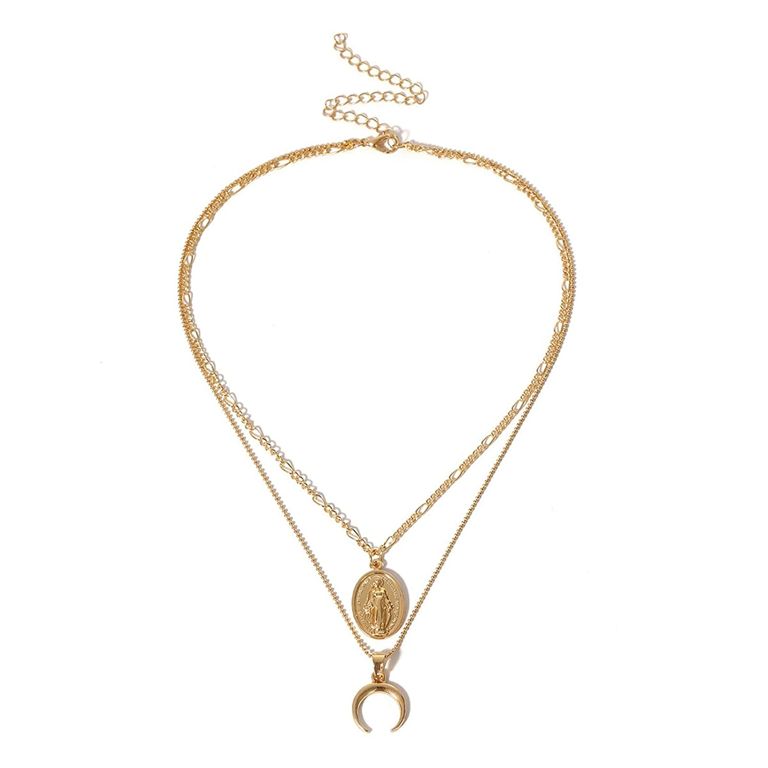 Epinki Gold Plated 2 Layered Necklace Gold Virgin Mary Crescent Chain Necklace Vintage for Women and Girls
