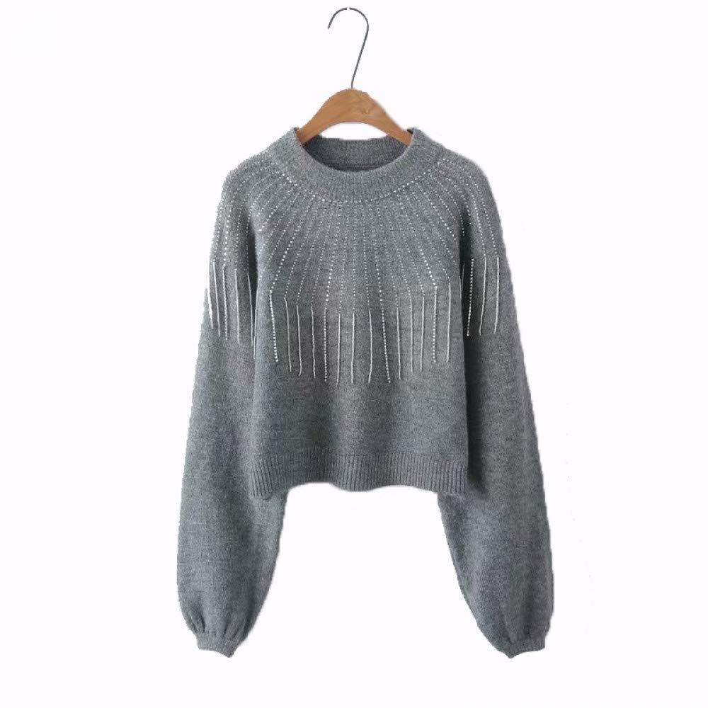 FUHENGMY Pullover Weinlese-Frauen-Troddel-Pullover-Art- Und Weisefrauen-Bettzeug-Laternen-Hülsen-Strickjacke-Herbst Beiläufige O Neck Streetwear