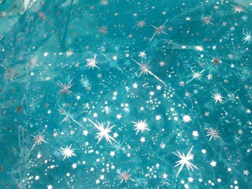 Light Blue Organza Silver Stars Frozen Inspired - 1 Yard