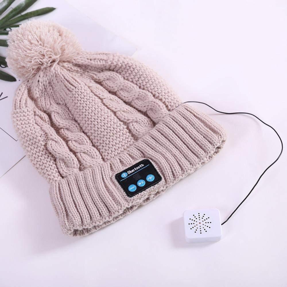 Inverno Knit Hat Musica Cuffia Senza Fili Bluetooth Cappello Bluetooth Beanie di Modo di Inverno Le Ragazze,Blu Huanxin Cappello Bluetooth per Le Donne