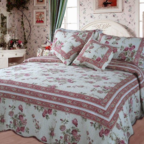 DaDa Bedding Cottage Bedspread Set - French Country Floral Quilted Coverlet - Multi Color Mauve Pink Roses - Twin - ()