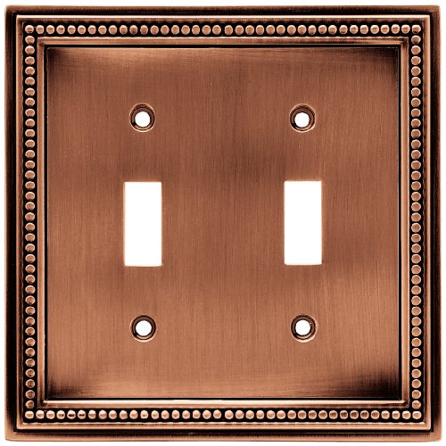 Brainerd 64243 Beaded Double Toggle Switch Wall Plate / Switch Plate / Cover, Aged Brushed Copper (Switchplates Switch Double Accessory)
