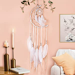 YEAILIFE Dream Catcher, Moon Half Circle Handmade Dream Catcher with Small Circle Dreamcatcher for Wall Art Hanging Bedroom Home Decoration Ornament Craft Gift