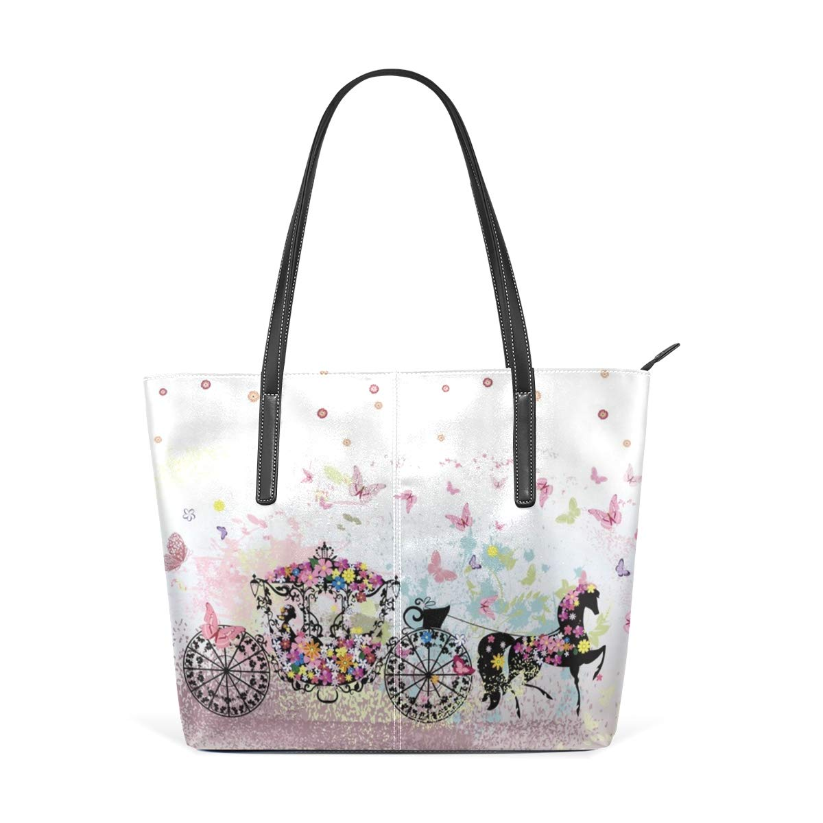 Castle In The Fairy Tale World Womens PU Leather Tote Shoulder Bags Handbags Casual Bag