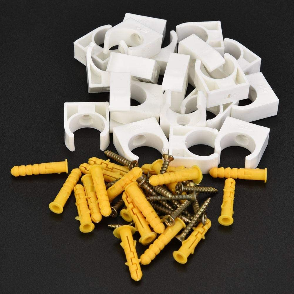 16mm Pipe Clamp,20pcs 16//20//25//32mm PPR U Shape Pipe Clamp Tube Pipe Fasten Holder with Screws