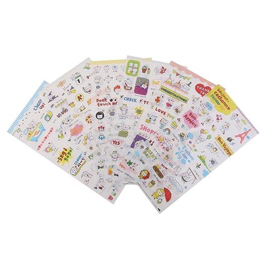 6 Fogli Carino Diario Calendario Trasparente Libro Scrapbook Adesivi Decorazione