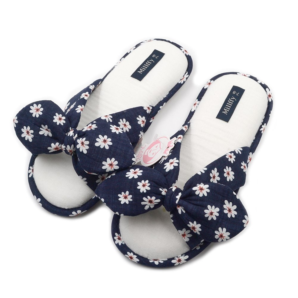 Millffy 2018 New Fashional Summer Floral Sweet Cotton Slippers Japanese Flowers Women's Slippers Shoes (Women US 7/8 Or UK 5/6 Or EU 38/39, Navy Bule)