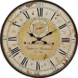 Home Large Antique Wall Clock Decor Round Vintage Roman Numerals Country French Style Rustic Metal