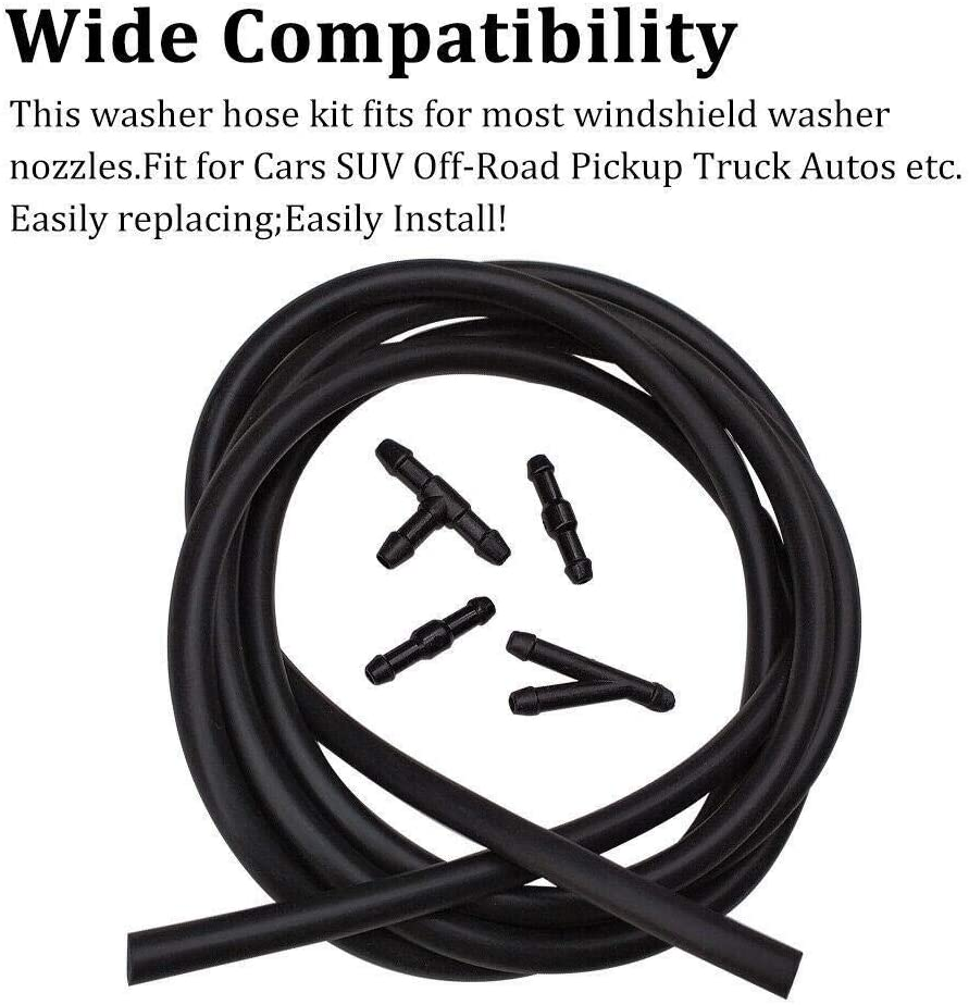 Color : Black N\A Windscreen Washer Jets Jet Windscreen Washing Universal Rubber Car Windshield Washer Nozzle Fluid Water Hose Tube Connectors 5pcs//Set 2M for Car Windscreen Cleaning