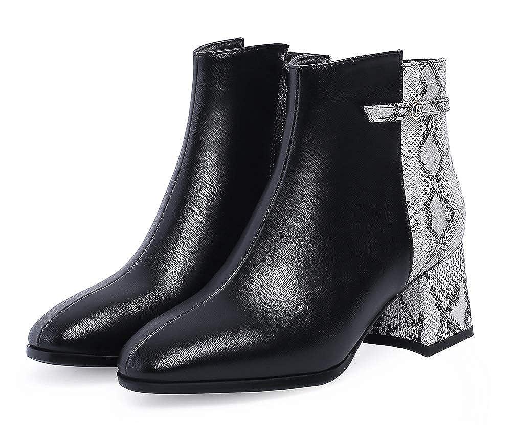 Easemax Damen Schlangen-Muster Geschlossen Kurzschaft Stiefeletten Mit Blockabsatz Blockabsatz Blockabsatz 563ac1