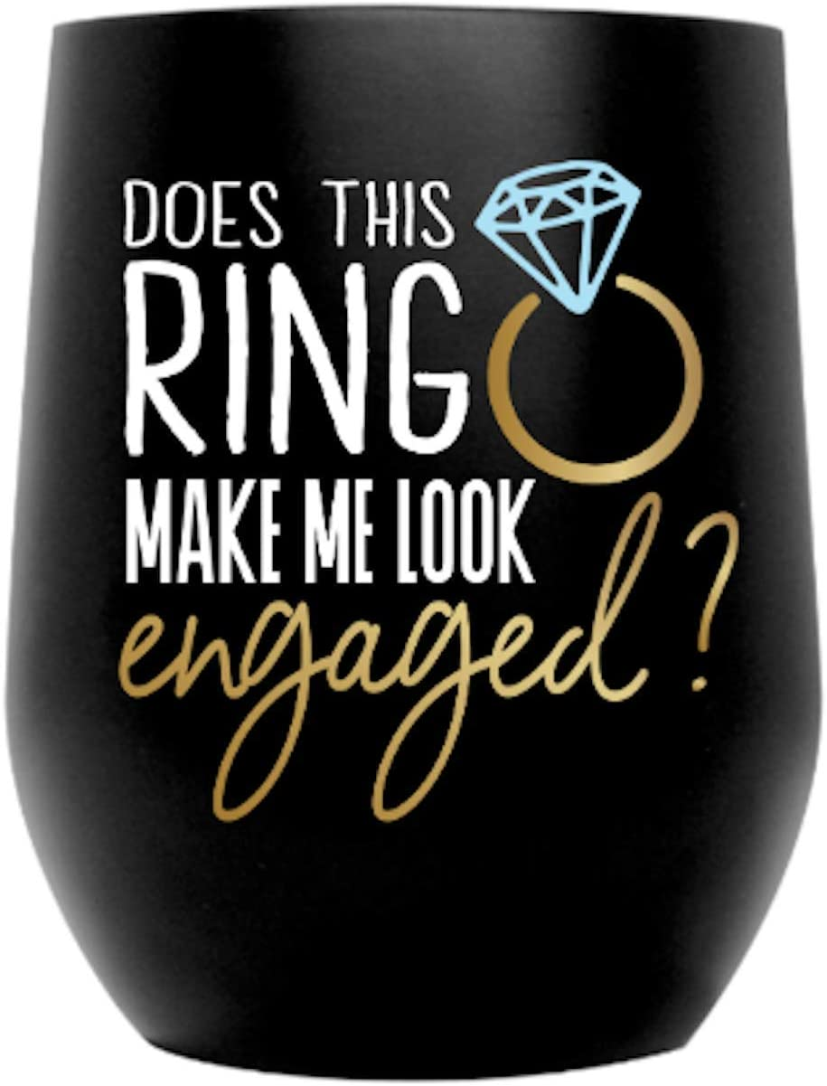 Does This Ring Make Me Look Engaged Marble Cup Engagement Gift 20 oz Stainless Steel Tumbler With Straw Bachelorette Party