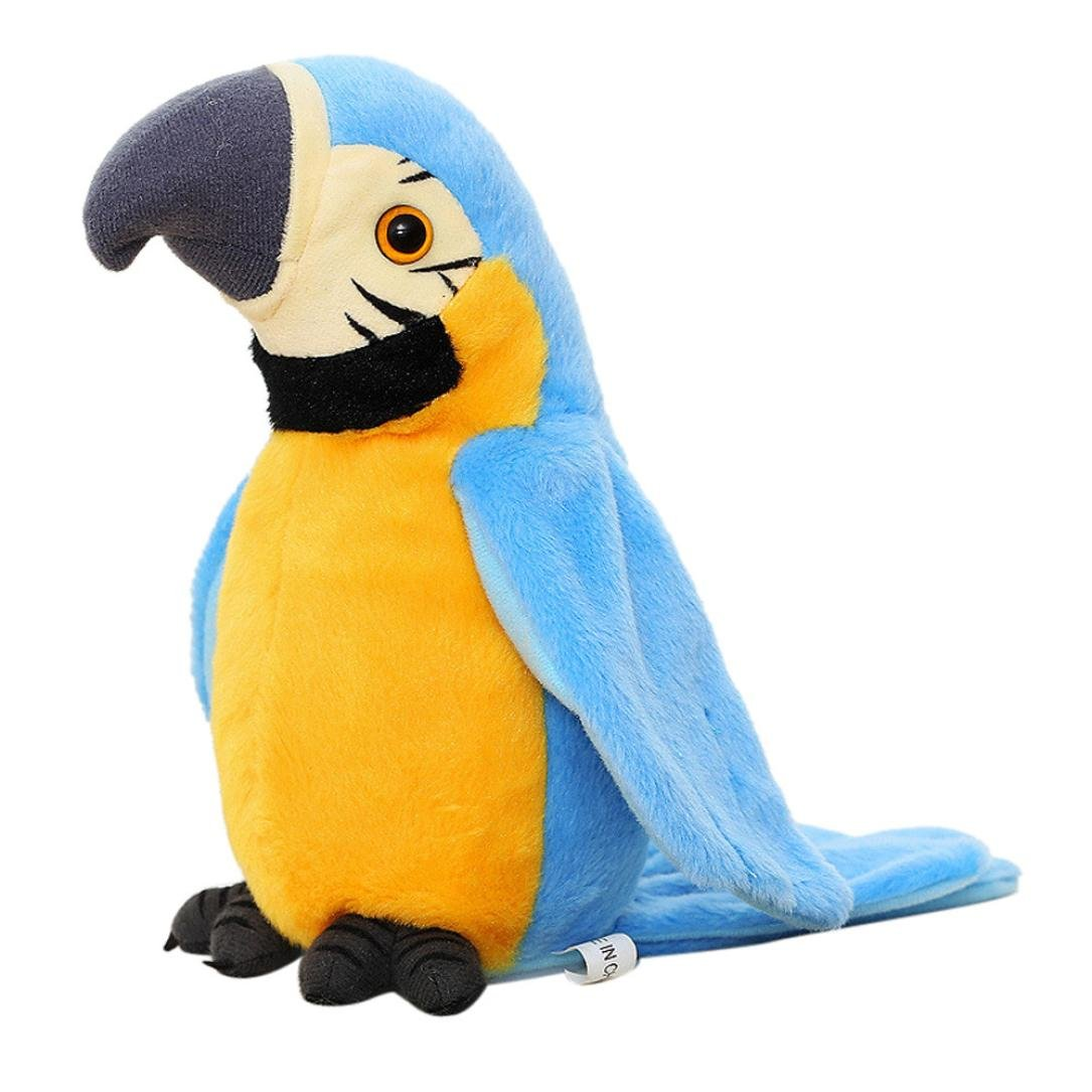 Dartphew Toys, ファッション 面白い アウトドア 面白い インタラクティブ 愛らしい スピーク トーキング 記録 繰り返し 揺れるウイング かわいいパロットぬいぐるみ 赤ちゃんや子供へのギフトに最適 B07FBTGD6J  ブルー