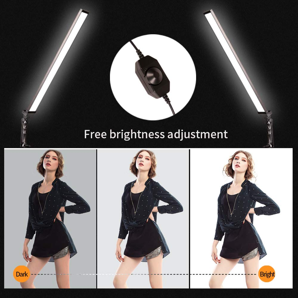 GIJUANRING 2x36W Photography Dimmable LED Video Light,5600K Light Photo Lighting Kit for Camera Photo Studio Shooting,Professional LED Light with Tripod Stand by GIJUANRING