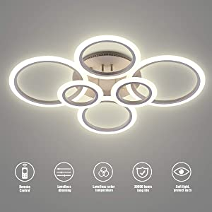 LED Ceiling Light,VANDER Life 72W LED Ceiling Lamp 6400LM White 6 Rings Lighting Fixture for Living Room,Bedroom,Dining Room,Dimmable Remote Control,3 Color